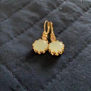 Dangle gold and aqua earrings